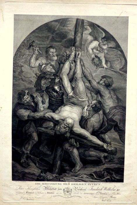Pieter Paul Rubens (1577-1640), Ernst Thelott (1760-1834) - The crucifixion of Saint Peter. Very large engraving.