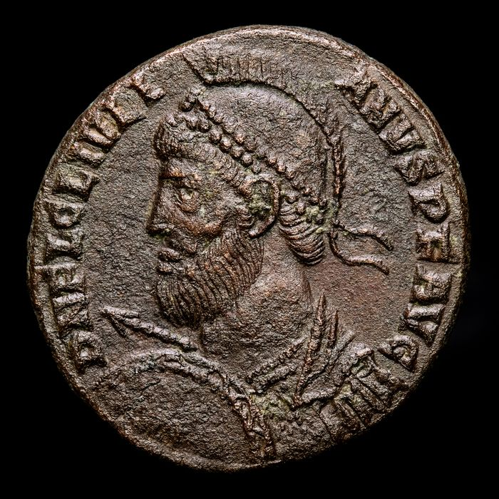Roman Empire. Julian II Apostata (AD 360-363). Æ 19,  Constantinople mint -  VOT X MVLT XX / CONSPA in four lines within wreath