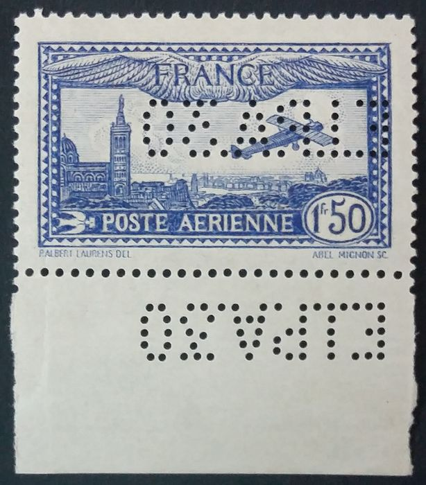Frankrijk 1930 - 1 f. 50 overseas with THE EIPA30 perforation - Yvert Poste aérienne 6c