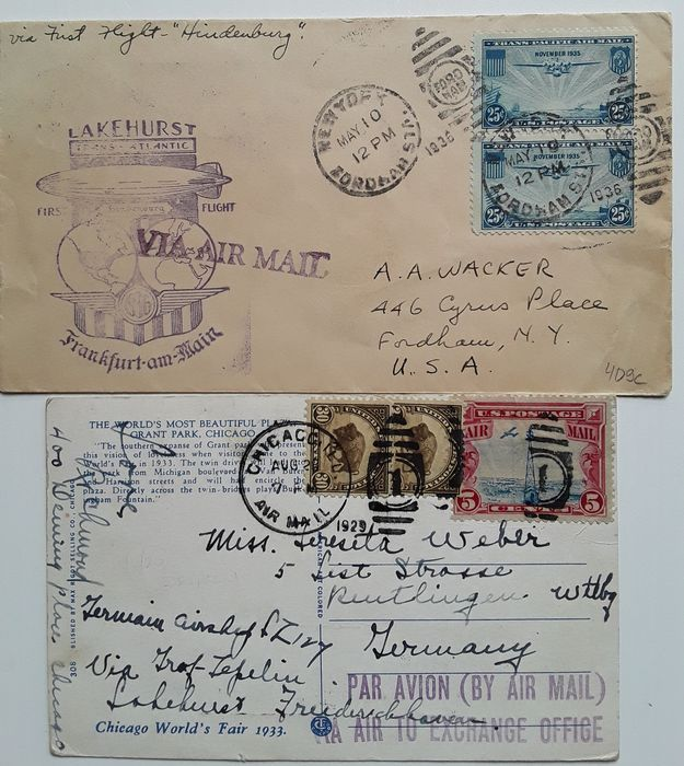 United States of America - 2 Zeppelin documents / American Post 1929/1936