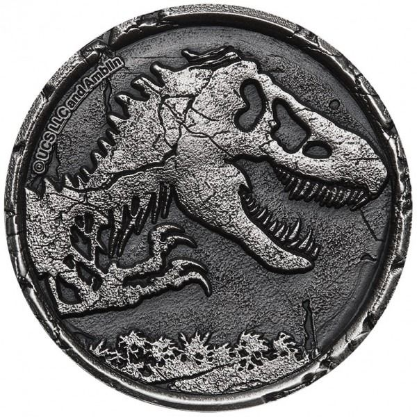 Niue. 5 Dollars 2021 Jurassic World Hight Relief Antique Finish Coin - 2 oz