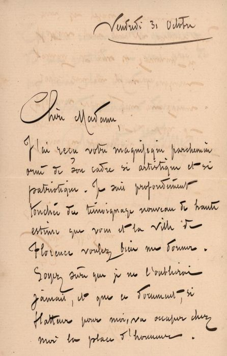 Augusta Holmés Composer - Autograph; Letter with Envelope to Giulia Torrigiani for Holiday in Florence - 1890