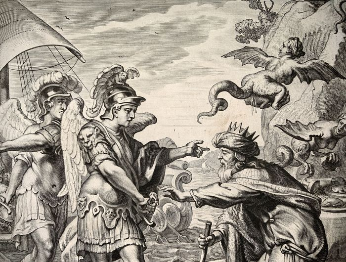 Abraham van Diepenbeeck (1596-1675); Cornelis Bloemaert (1603-1692) - Mythology - Harpies attack Phineus - Folio engraving - First State