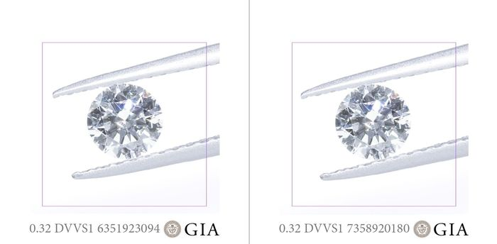 2 pcs Diamantes - 0.64 ct - Brillante - D (incoloro) - VVS1, *MATCHING PAIR*