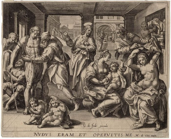 Maerten de Vos (1532-1603) after, Gerard de Jode (1509-1591) - One of the seven works of Mercy: Dressing the naked. First state.