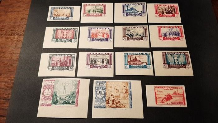 Spanje 1940 - 19th Centennial of the apparition of Our Lady of the Pillar in Zaragoza. Complete sheet margin set - Edifil 889s/903s