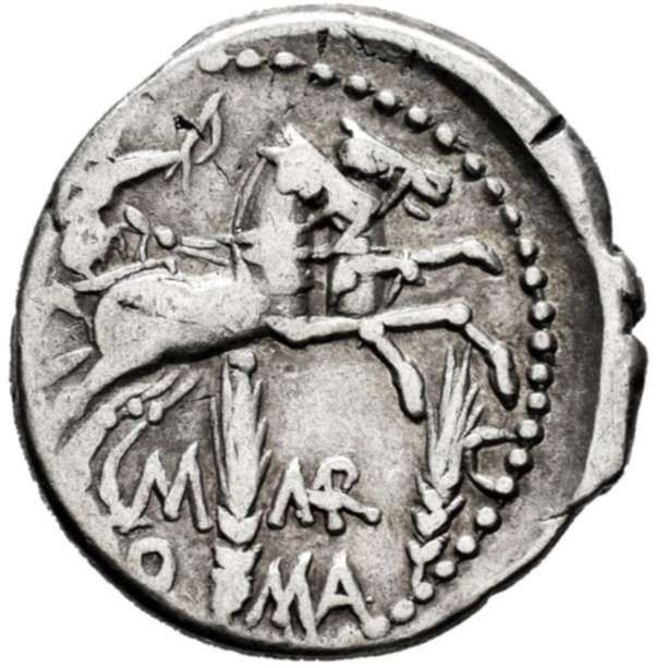Romeinse Republiek. M. Marcius, 134 BC. AR Denarius,  Rome - Victory in biga, two ears of corn.  M-MAR-C, RO-MA