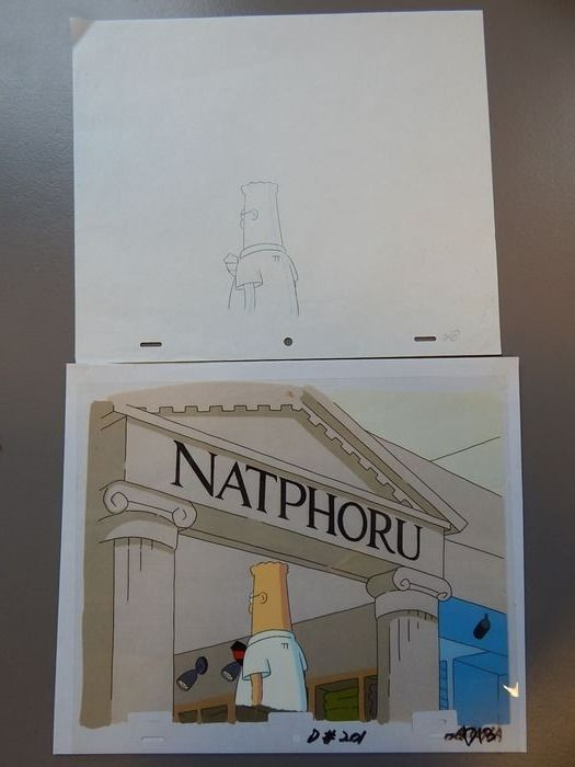 Dilbert - Original production Cel + background + art drawing - (1999)