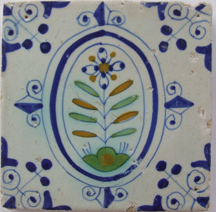 Colored Flower in Oval with 3-dot corners. - Earthenware
