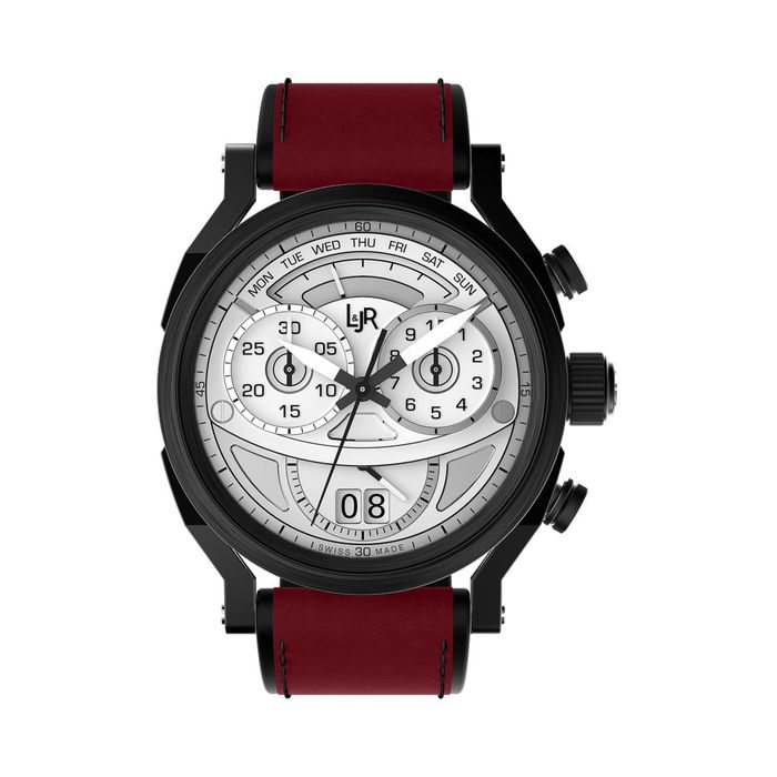 """L&JR - Chronograph Day and Date Black PVD Silver Burgundy Red - S1501-S12 """"NO RESERVE PRICE"""" - Homme - 2011-aujourd'hui"""