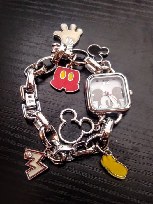 Disney / Accutime - Square Wristwatch Charm Bracelet w/ 6 Charms - Mickey Mouse