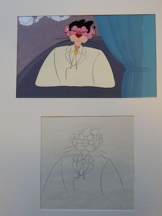 The Pink Panter - Original production Cel + background + art drawing - (80's)