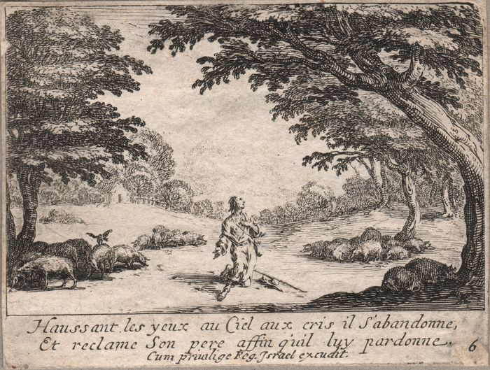 Jacques Callot (1592-1635) - The prodigal  son amongst the pigs,  asking God for help