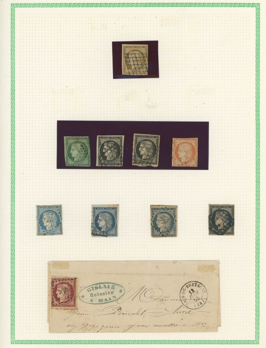 France 1849/1853 - A set of classic Ceres and Napoleon stamps on YT pages. - Value: over 10000. - Yvert Entre les n°1 et 18