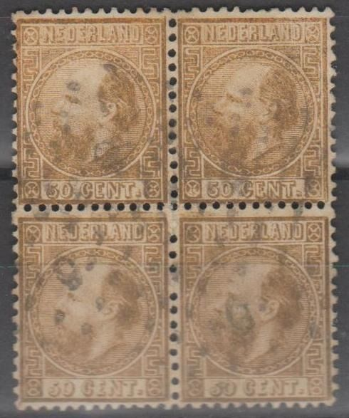 Netherlands 1867 - King Willem III in a block of four - NVPH 12