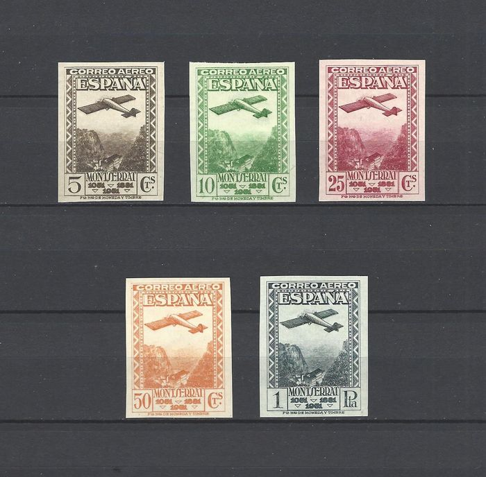 Spanje 1931 - Monastery of Montserrat, imperforated. Airmail - Edifil 650s/54s