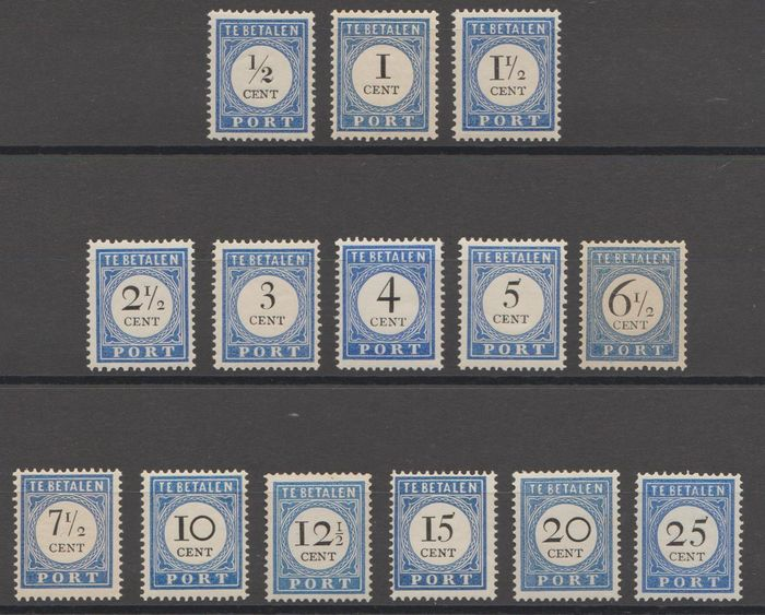 Netherlands 1894/1910 - Postage due stamps with overprint and denomination in black - NVPH P13/P26