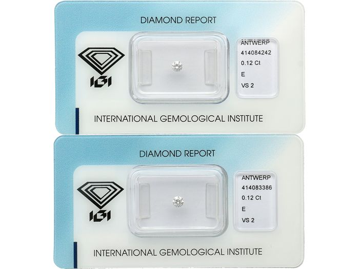 2 pcs Diamante - 0.24 ct - Brillante - E - VS2 ***No Reserve***