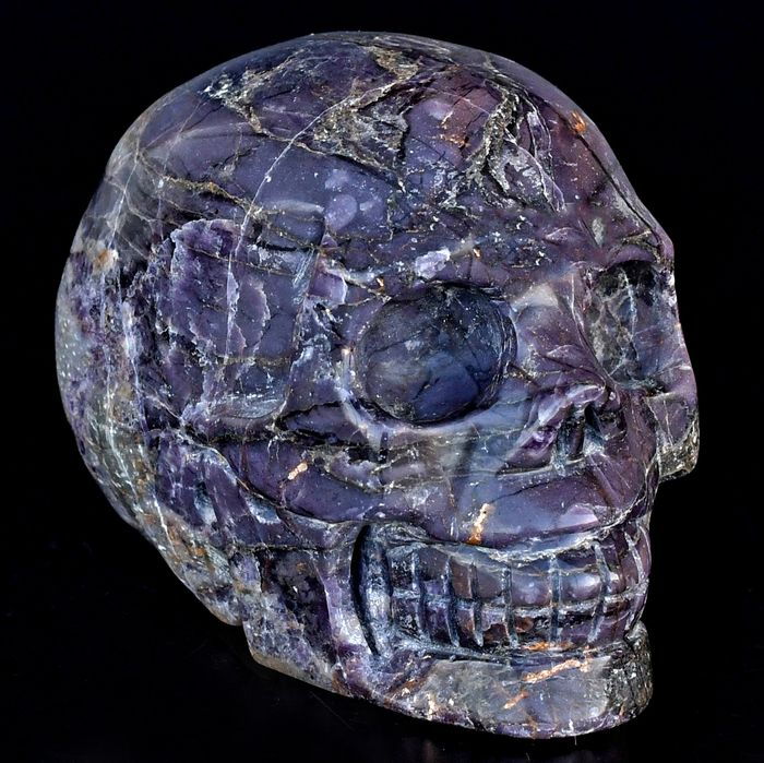 High quality purple Opal and Pyrite skull - 9.8×7.2×6.2 cm - 876 g