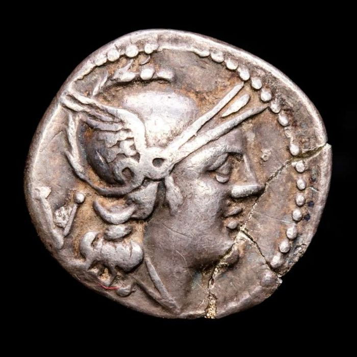 Romeinse Republiek. AR Quinarius,  Anonymous issue, Rome mint, 211-210 BC - ROMA. - The Dioscuri / H below