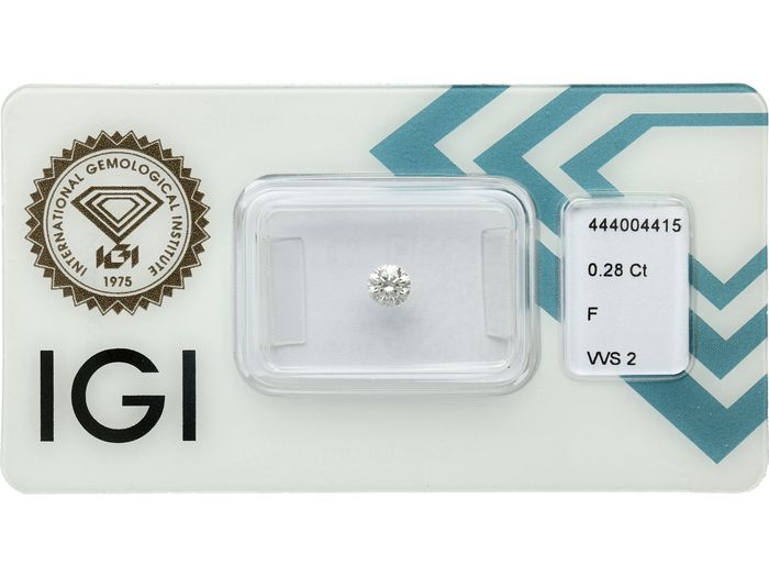 1 pcs Diamante - 0.28 ct - Brillante - F - VVS2 ***No Reserve***