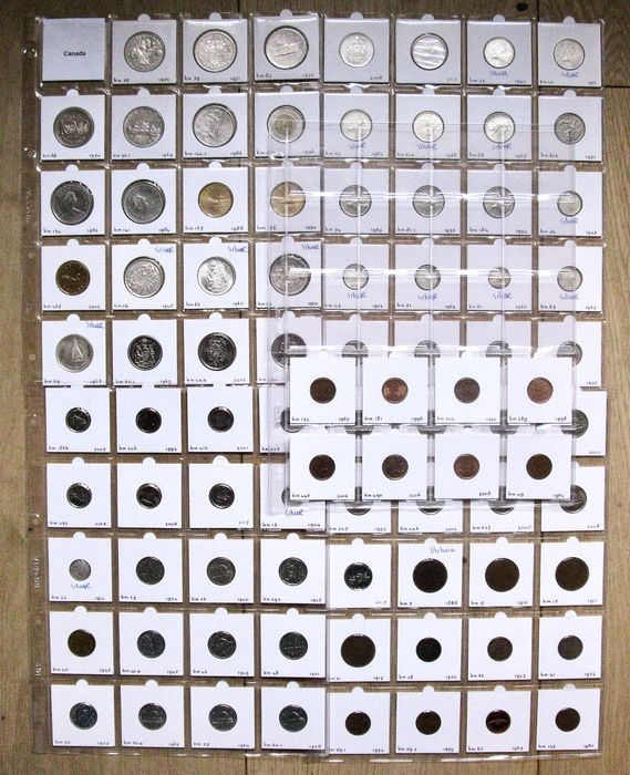 Canada. Type Coin Collection, Cent up to and including 2 Dollar 1888/2017 - 87 different coins - incl. silver