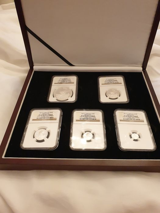 Great Britain. 10 + 20 + 50 Pence + 1 + 2 Pounds 2015 (5 pieces) in NGC PF69 Ultra Cameo Slab
