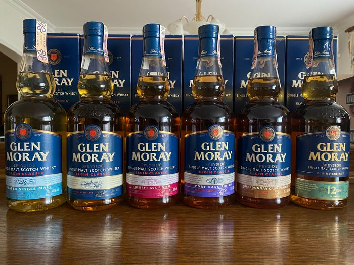 Glen Moray Classic - Peated - Sherry -  Port - Chardonnay - 12 years old - Original bottling - 700ml - 6 bouteilles