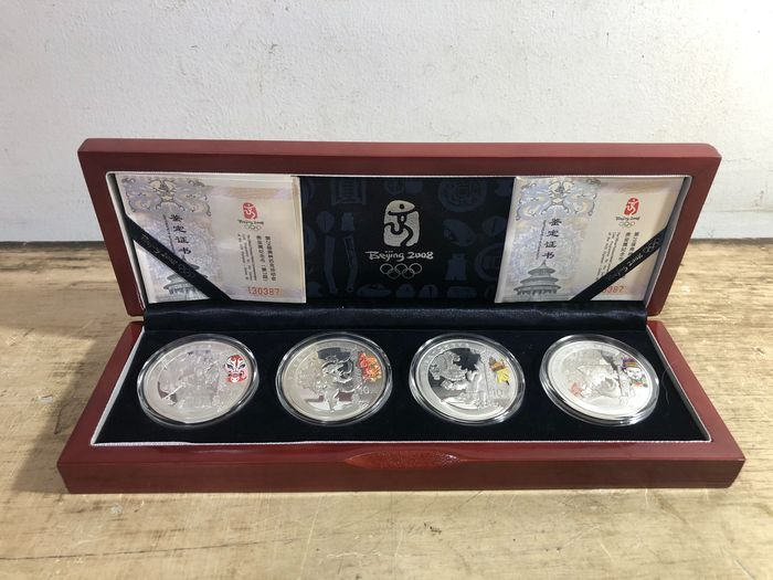 China, Volksrepublik. 10 Yuan 2008 Proof, Beijing Olympic games, 4 coins with box and COA