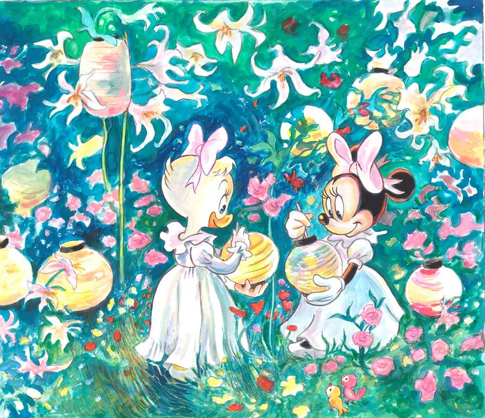 "Daisy & Minnie Inspired By John Singer 1885 ""Carnation, Lily, Lily, Rose"" - Original Painting - Tony Fernandez Signed"