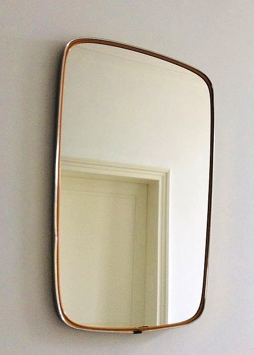 Nice Vintage mirror with gold-colored edge from the 60s