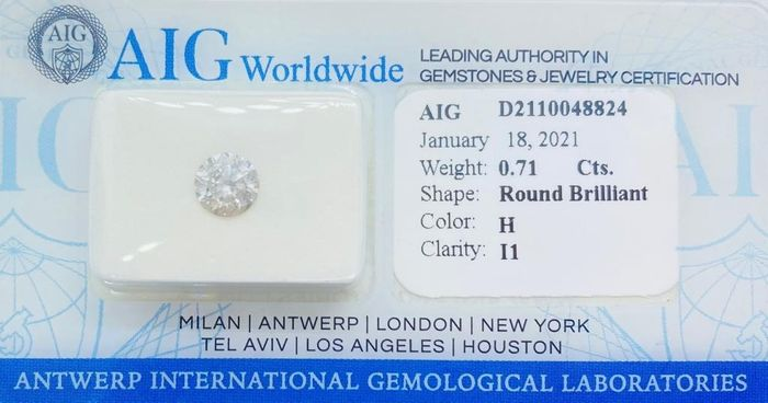 1 pcs Diamante - 0.71 ct - Brillante, Redondo - H - I1