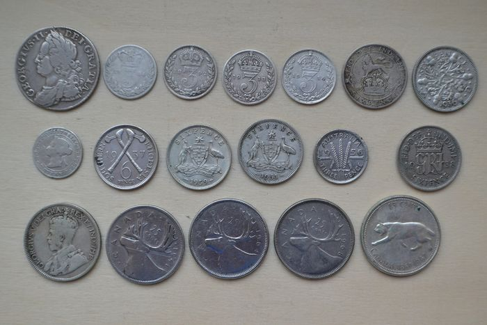 Great Britain, British Commonwealth. Lot various coins 1758/1968 (18 pieces)
