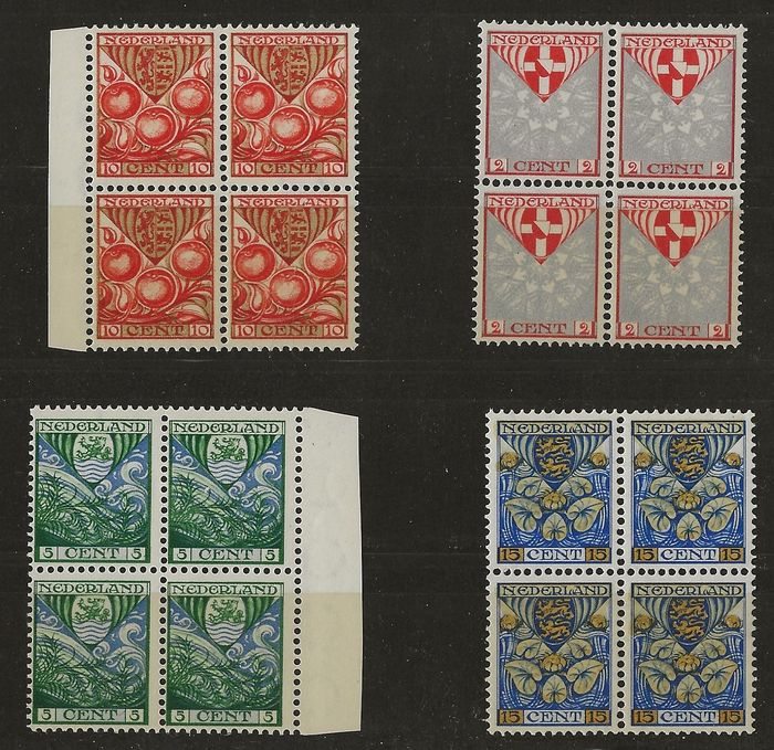 Netherlands 1926 - Children's Aid stamps with vertical watermark in blocks of four - NVPH 199a/202a