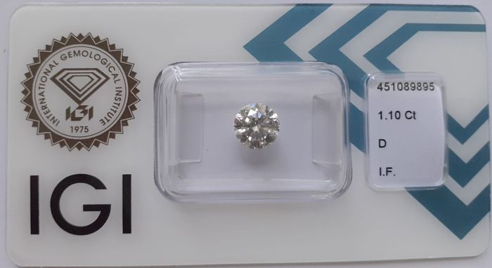 Diamante - 1.10 ct - Redondo - D (incoloro) - IF (Inmaculado)