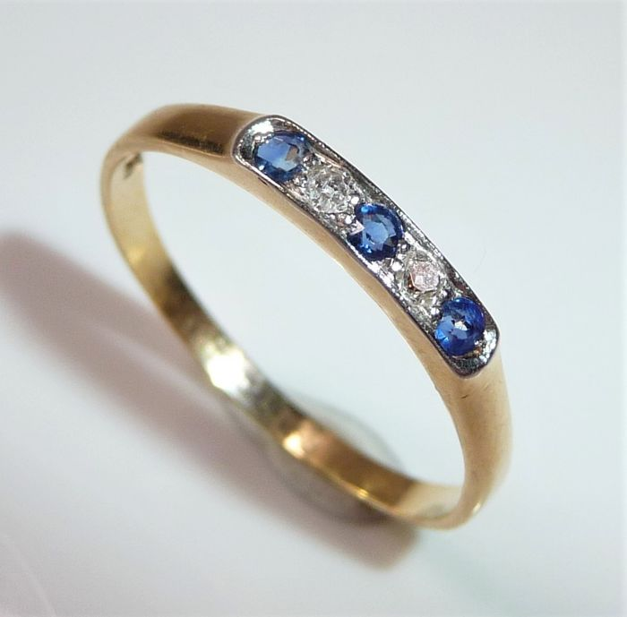 No Reserve - 18 kt Gelbgold - Ring - 0.07 ct Diamanten - Saphire