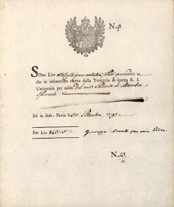 Joseph Frank Doctor of Zar Alexander I - Autograph; Letter from University of Pavia for Salary Payment - 1793