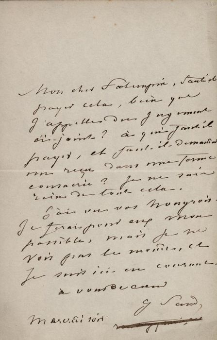 George Sand Writer - Autograph; Autograph Letter for Payments and Receipts - 1850/1860