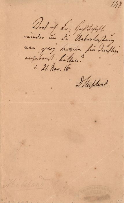 Christoph Wilhelm Hufeland German Doctor of Holistic Medicine - Autograph; Letter for Thanks from the Berlin University - 1816