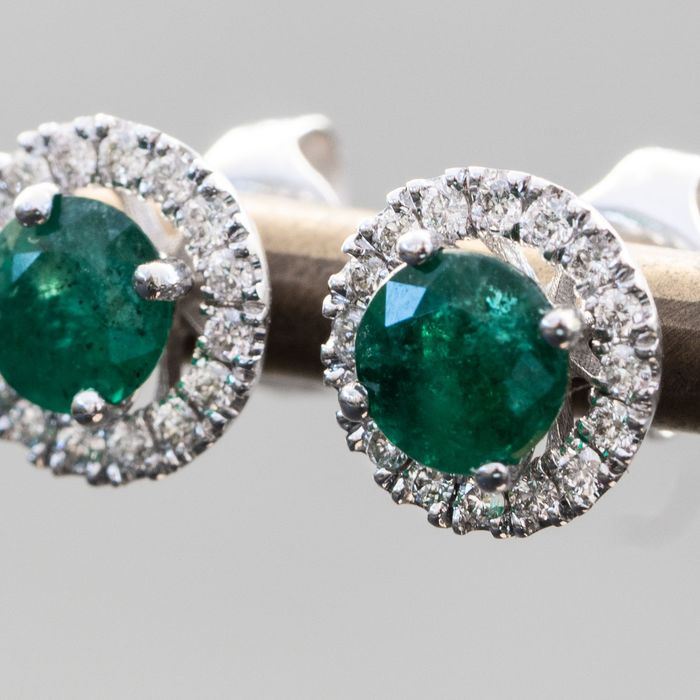 Gorgeous Natural Green Emerald Earrings - 2 in 1 - 14 carats Or blanc - Boucles d'oreilles - 1.67 ct - Saphir