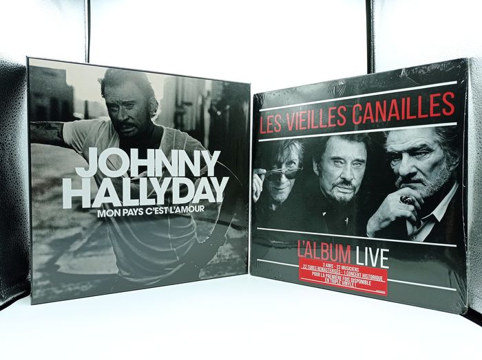 Johnny Hallyday, Les Vieilles Canailles (Johnny Hallyday, Jacques Dutronc, Eddy Mitchell) - Mon Pays C'est L'amour (Box Set Numbered and Limited Ed.) + Le Live (3 X LP) - Box set, Limited edition, LP Box set - 2018/2019