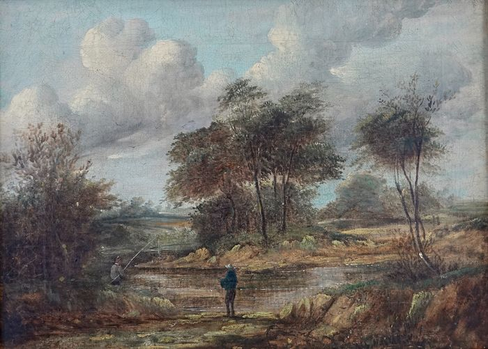 English school (XlX) - A country landscape with anglers