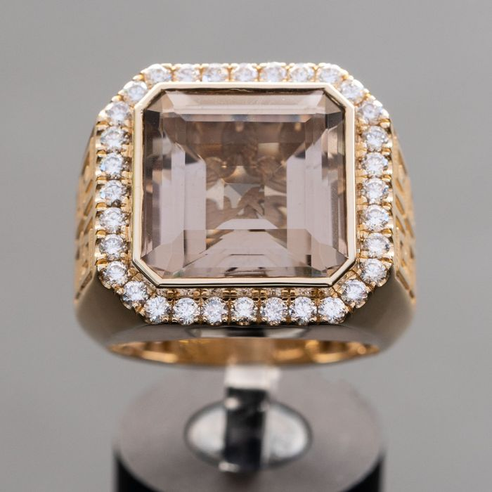 Men's Ring - Brown Citrine and natural diamonds - 14 kt Gelbgold - Ring - 12.01 ct Citrin - 1,01 ct Diamant D VS