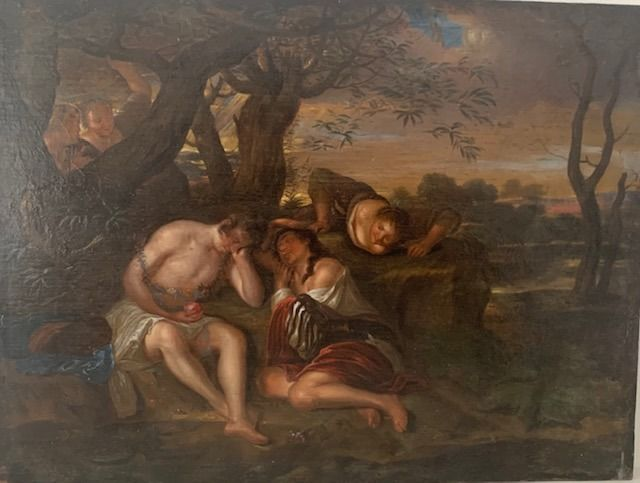 Carel DE MOOR (1656-1738) - Maidens observing a couple sleeping by a pool in a landscape