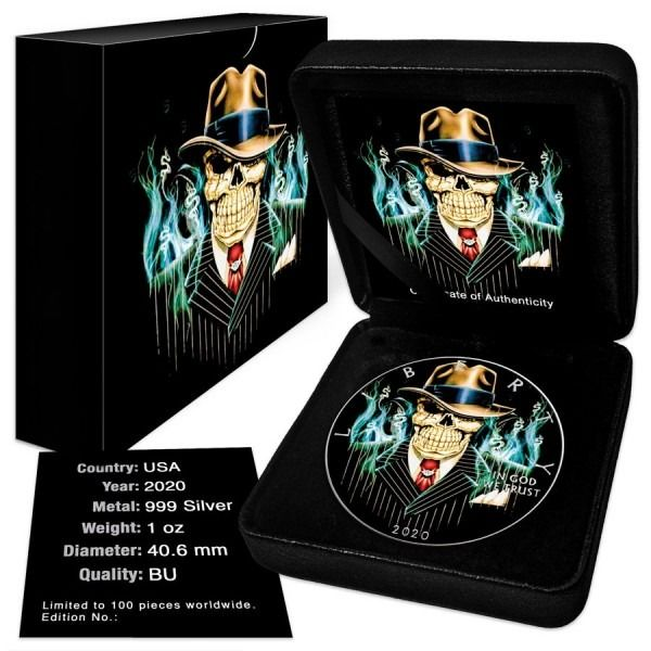 USA. 1 Dollar 2020 - Silver Eagle - Mobster Gangster Skeleton Colorized - 1 oz with BOX and COA