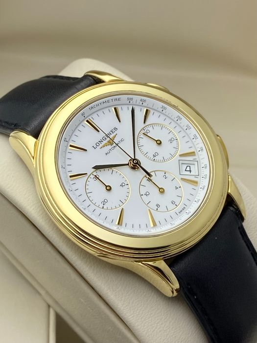 Longines - Flagship Chronograph 18K Yellow Gold Automatic - L4.718.6 - Men - 2011-present