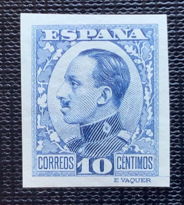 Spain 1930/1931 - Alfonso XIII colour error 10 cts imperforated, Graus report - Edifil 492scc