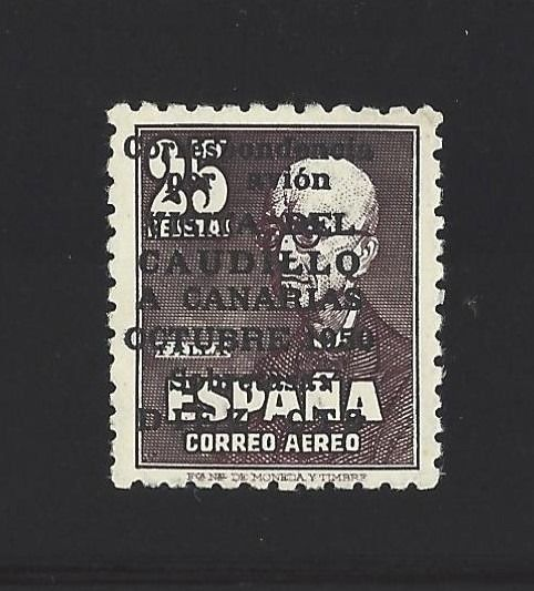 Spanje 1951 - Canary Islands Airmail with number, well centred, uncatalogued shifted overprint - Edifil 1090 no catalogado