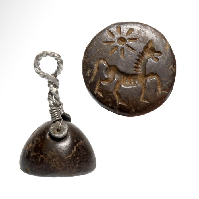 Mesopotamian Steatite and silver Seal with modern Silver Swivel Holder Pendant