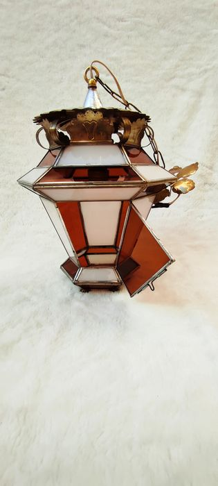 Hanging lamp (1) - Art Deco - metal, glass.